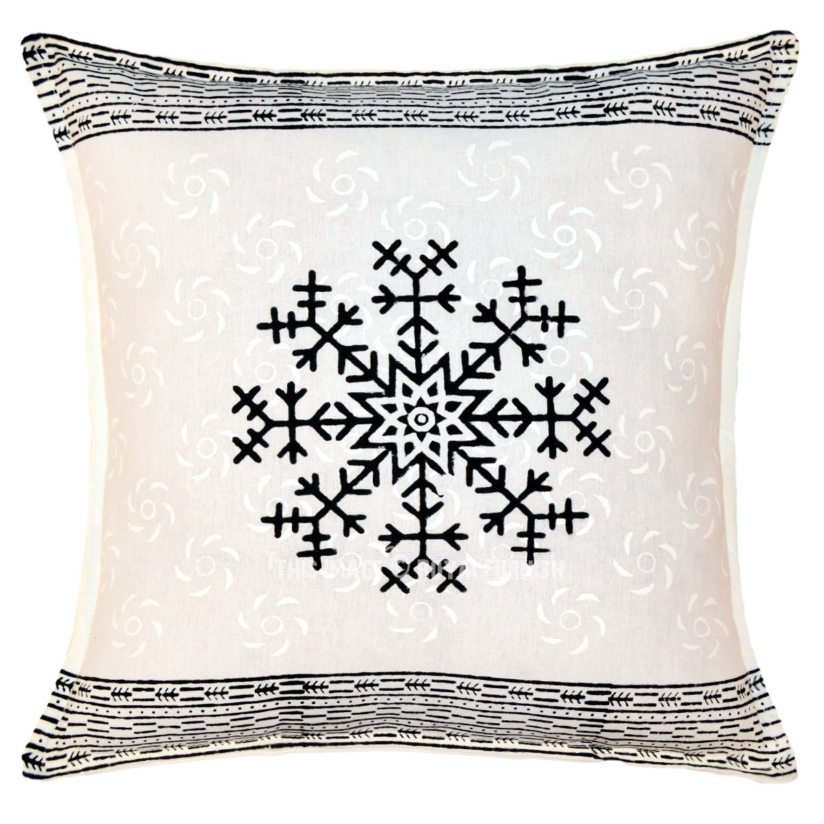 White & Black Star Hand Block Printed Decorative Pillow Sham 16 Inch - RoyalFurnish.com