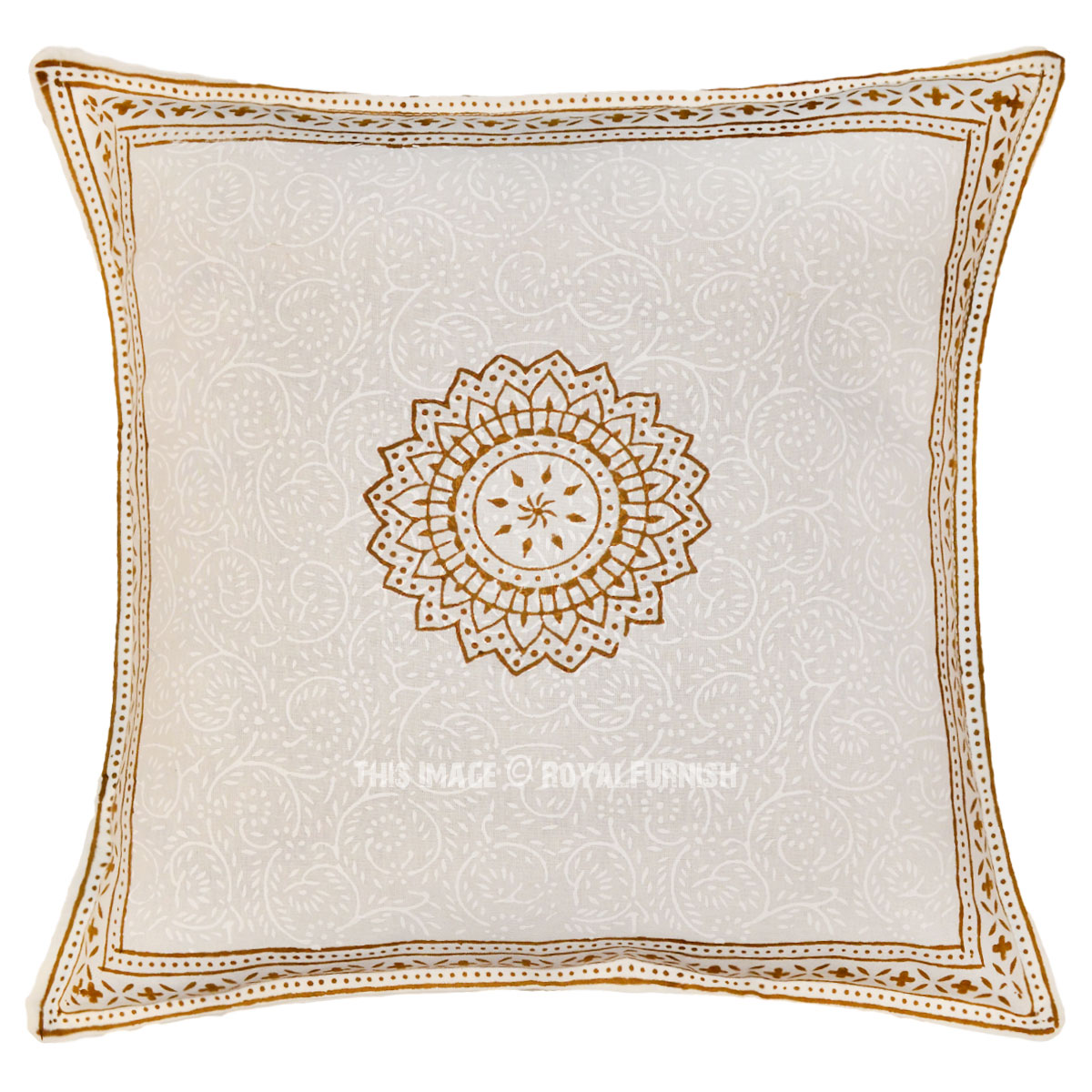 Small Brown Decorative Pillows : White & Brown Sunflower Printed Cotton Throw Pillow Sham 16X16 Inch - RoyalFurnish.com