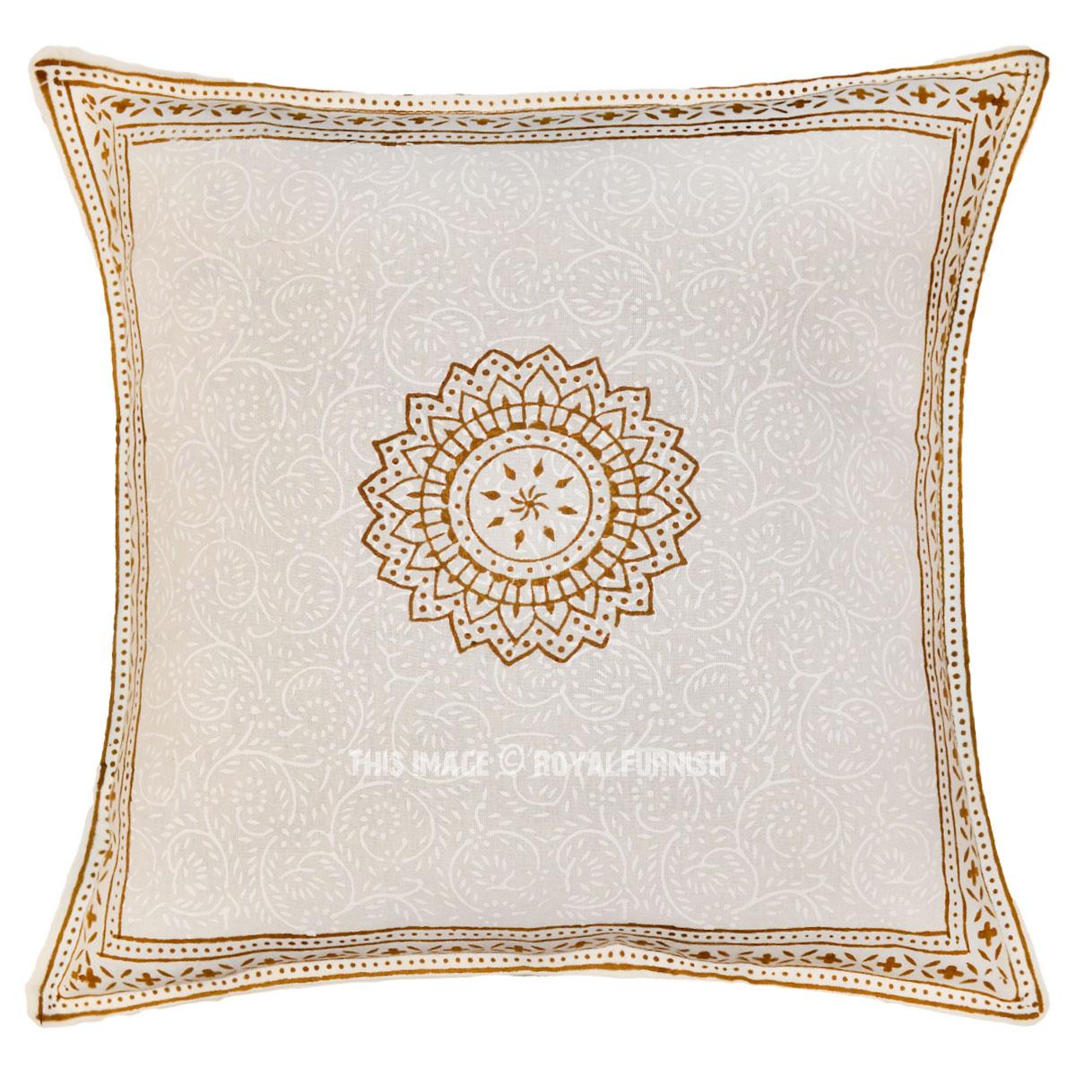 White & Brown Sunflower Printed Cotton Throw Pillow Sham 16X16 Inch - RoyalFurnish.com