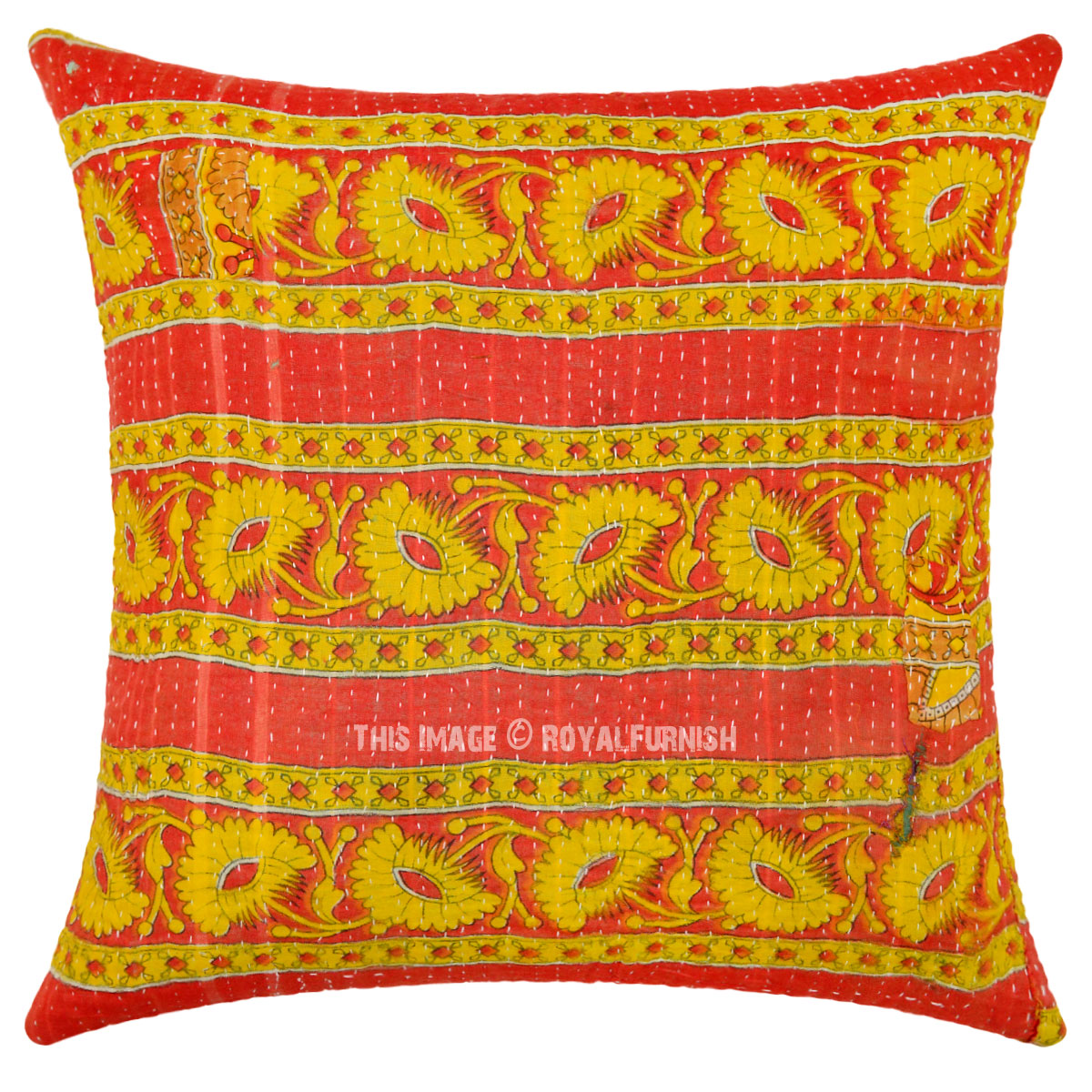 Red And Yellow Decorative Pillows : Red and Yellow Decorative One-Of-A-Kind Vintage Kantha Pillow Case 16X16 - RoyalFurnish.com