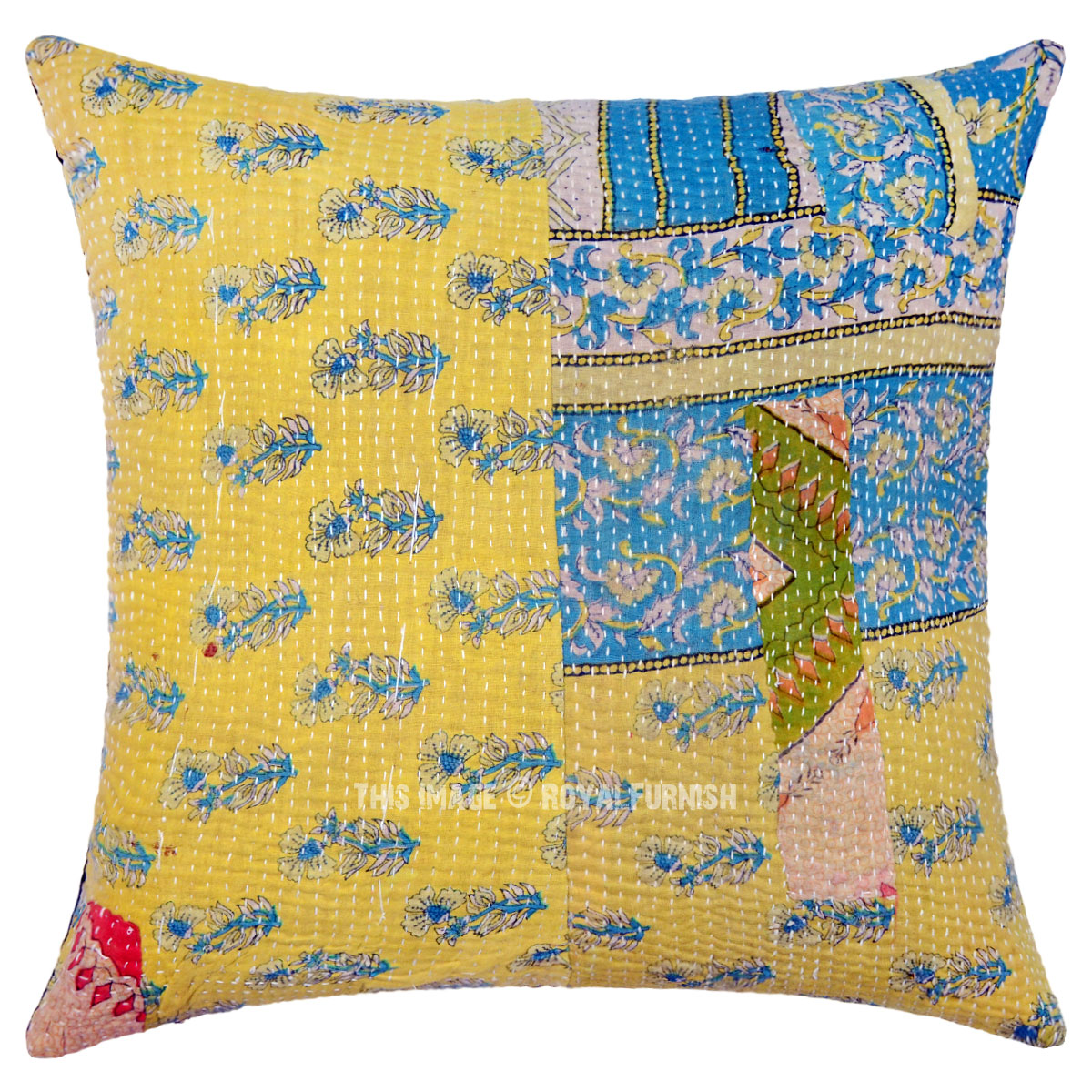 Pale Yellow Throw Pillow Cover : Light Yellow One-Of-A-Kind Decorative Small Flower Vintage Kantha Pillow Cover - RoyalFurnish.com