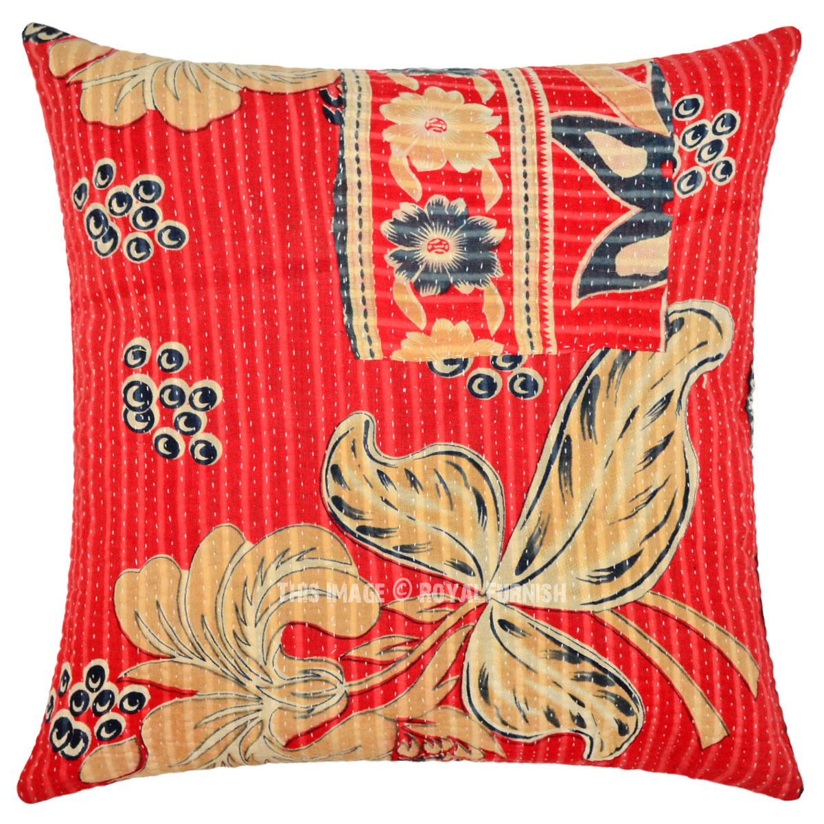 Vintage Throw Pillow Covers : 18X18 Red Multi Decorative Old Vintage Kantha Throw Pillow Cover - RoyalFurnish.com