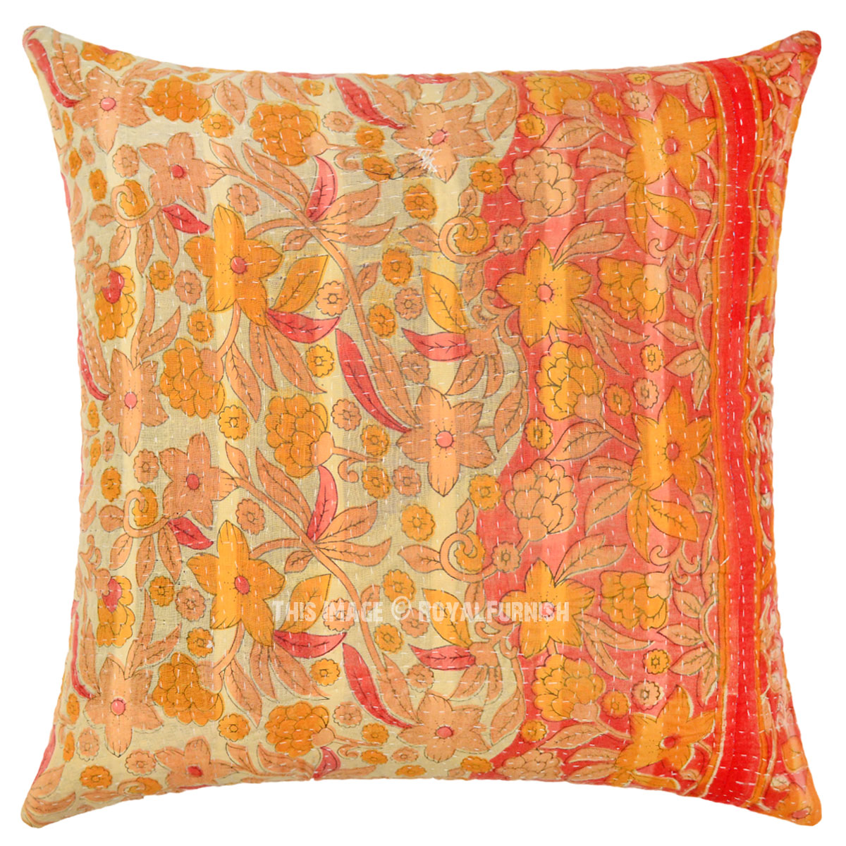Handmade Vintage Throw Pillows : Orange Unique One-Of-A-Kind Handmade Vintage Kantha Throw Pillow Cover - RoyalFurnish.com