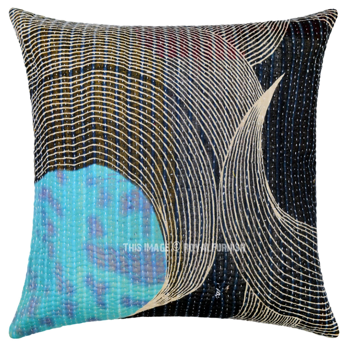 Unique Decorative Throw Pillows : Black Unique One-Of-A-Kind Decorative Vintage Kantha Pillow Cover - RoyalFurnish.com