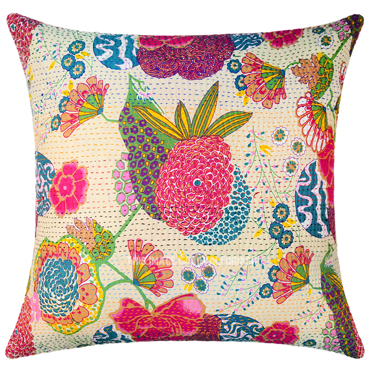 Unique Decorative Throw Pillows : Beige Color Decorative Unique Kantha Square Throw Pillow Cover 24X24 Inch - RoyalFurnish.com