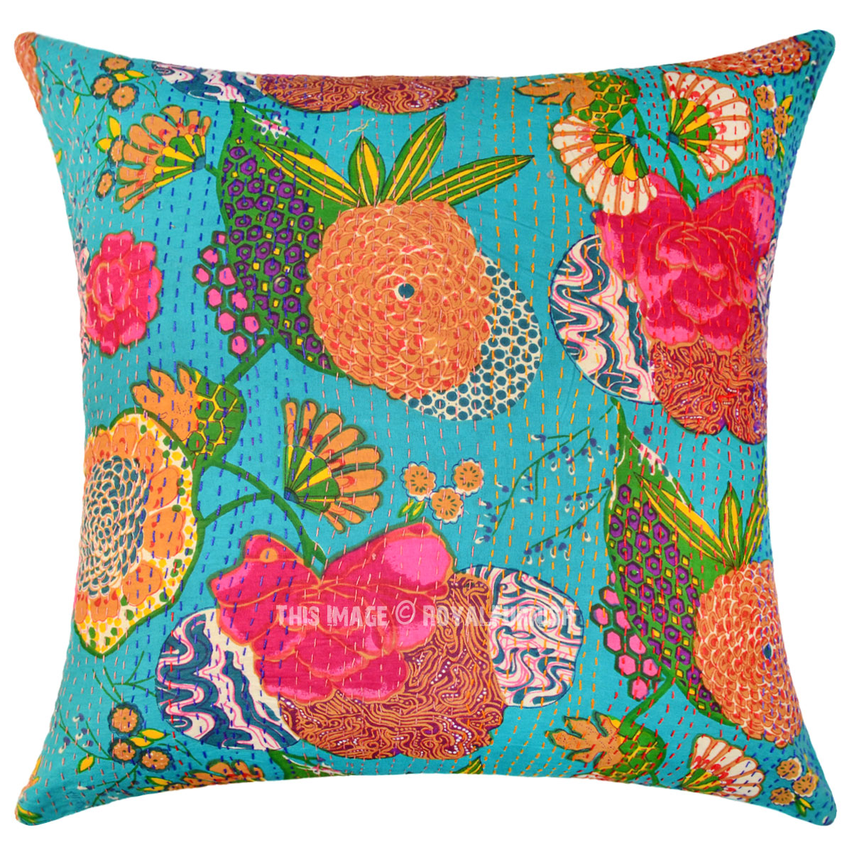 Big Sea Green Decorative & Accent Kantha Throw Pillow ...