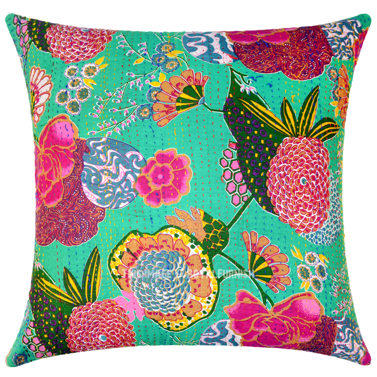Green Decorative Amp Bohemian Accent Kantha Throw Pillow