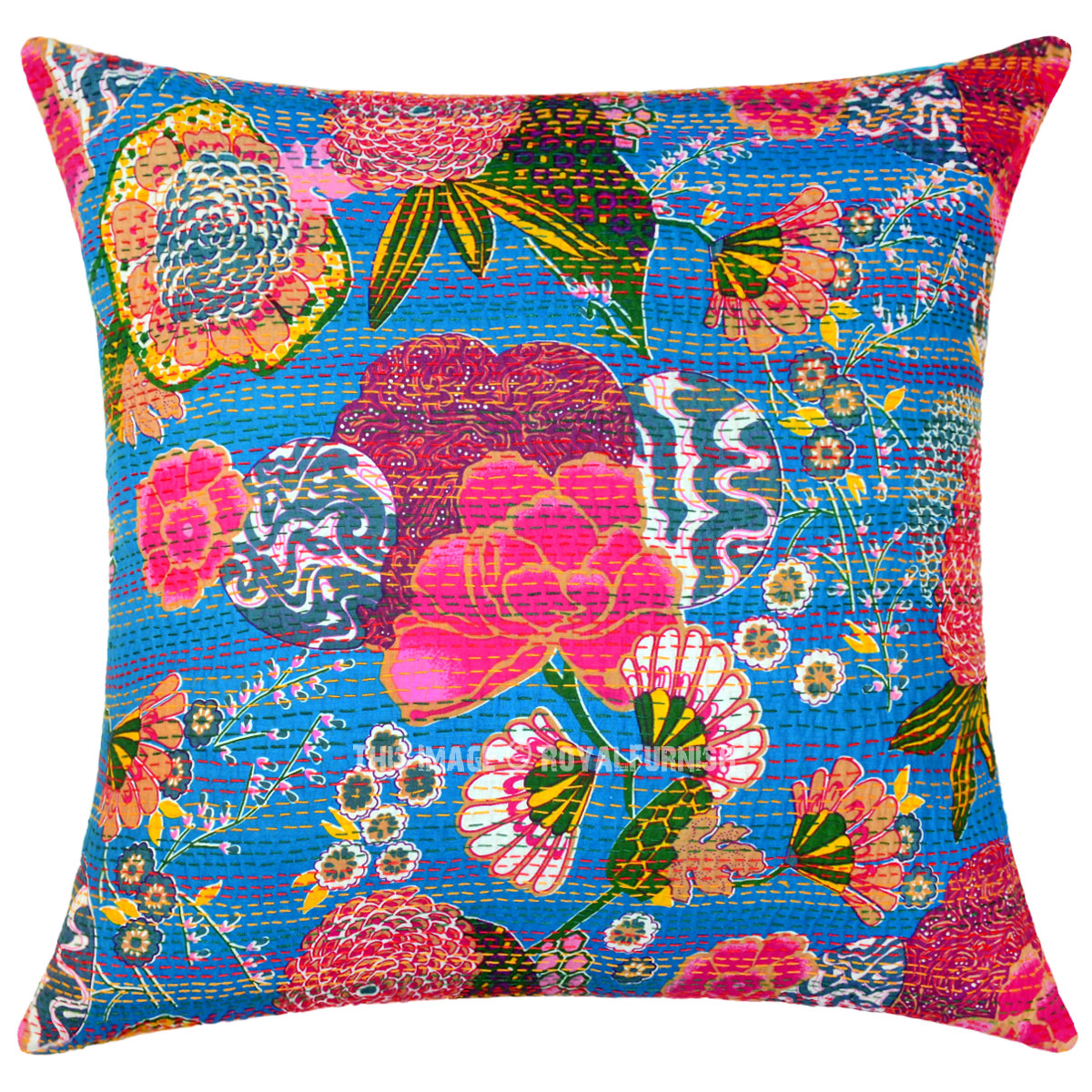 Large Blue Decorative Pillows : Large Blue Decorative & Accent Kantha Throw Pillow Cover 24X24 Inch - RoyalFurnish.com