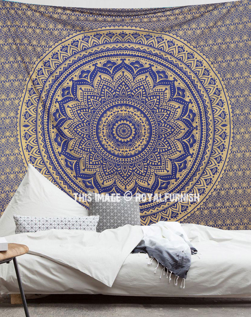 hanging medallion mandala circle trippy large blue sky tapestry wall