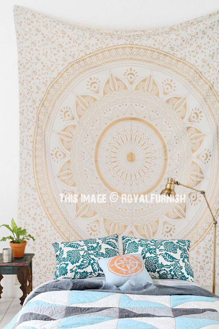 Sparkle Gold Dreams Ombre Mandala Wall Tapestry
