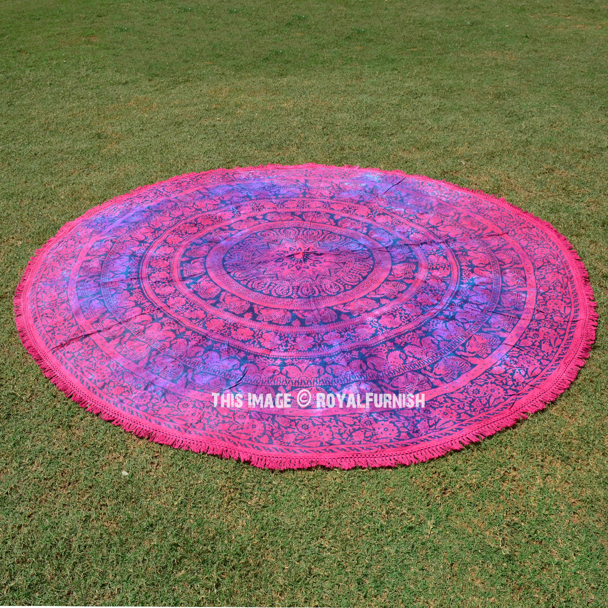 Pink Elephant String Medallion Mandala Roundie Beach Throw
