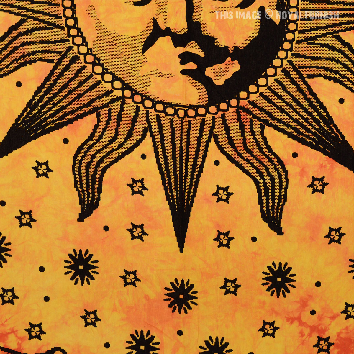 Yellow Psychedelic Sun Face Tapestry Royalfurnish Com