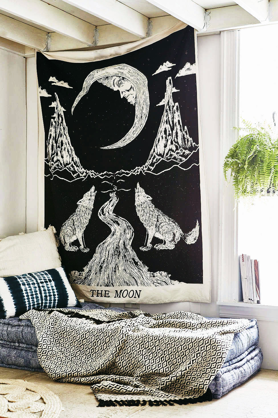 Black Amp White Wolfs Growling Moon Tarot Tapestry