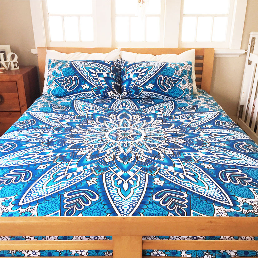 Blue Heliomeris Bohemian Mandala Bedding Duvet Cover Set