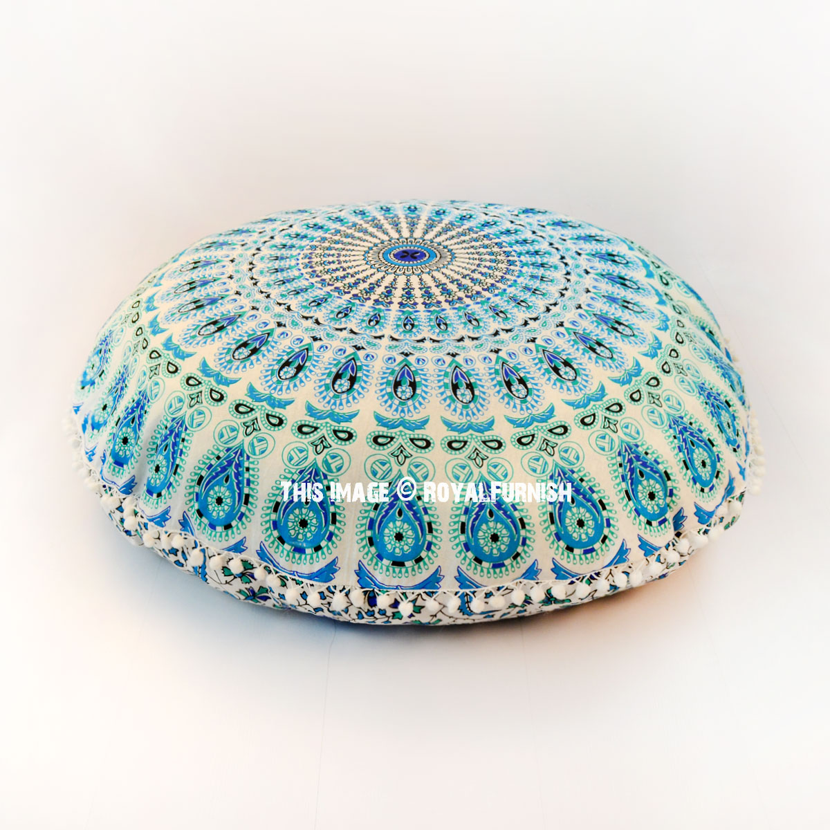 Hippie Floor Pillows : White Blue Hippie Mandala Round Pom Pom Floor Pillow Cover 32