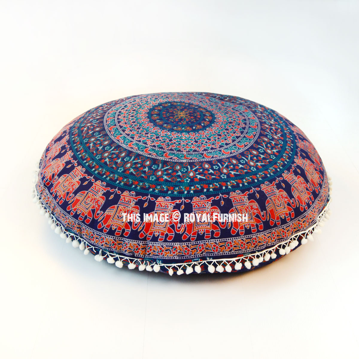 Round Floor Pillow Blue : Blue Bohemian Mandala Round Floor Pillow Cover 32