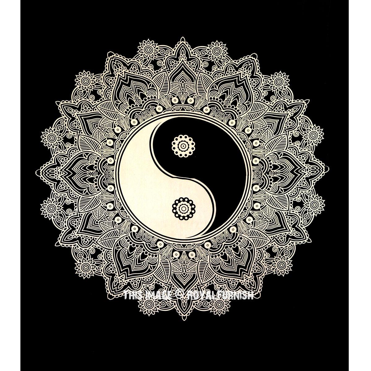 Black Amp White Yin Yang Mandala Tapestry Royalfurnish Com