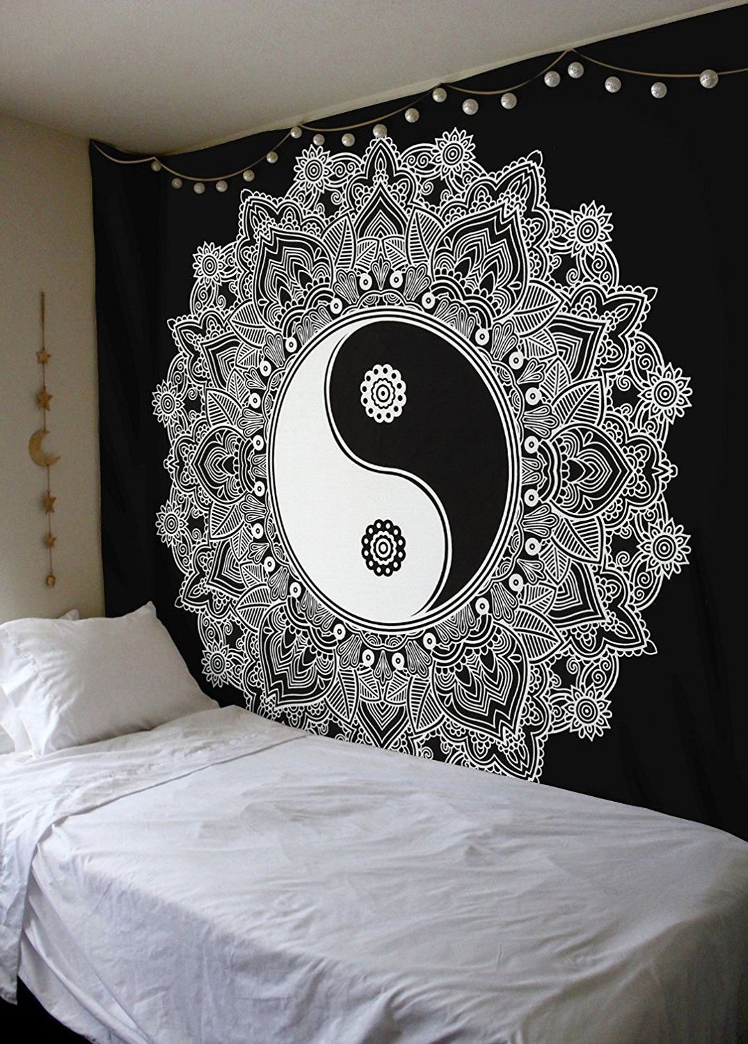 Black white yin yang peace on earth mandala wall hanging for Space themed tapestry