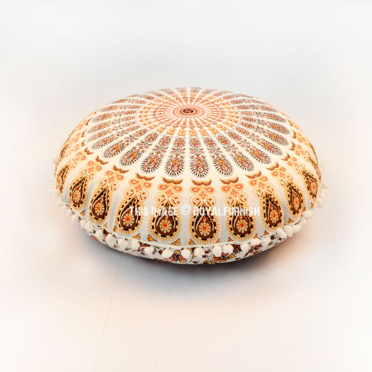 24 Quot Inch White Orange Peacock Mandala Round Floor Pillow