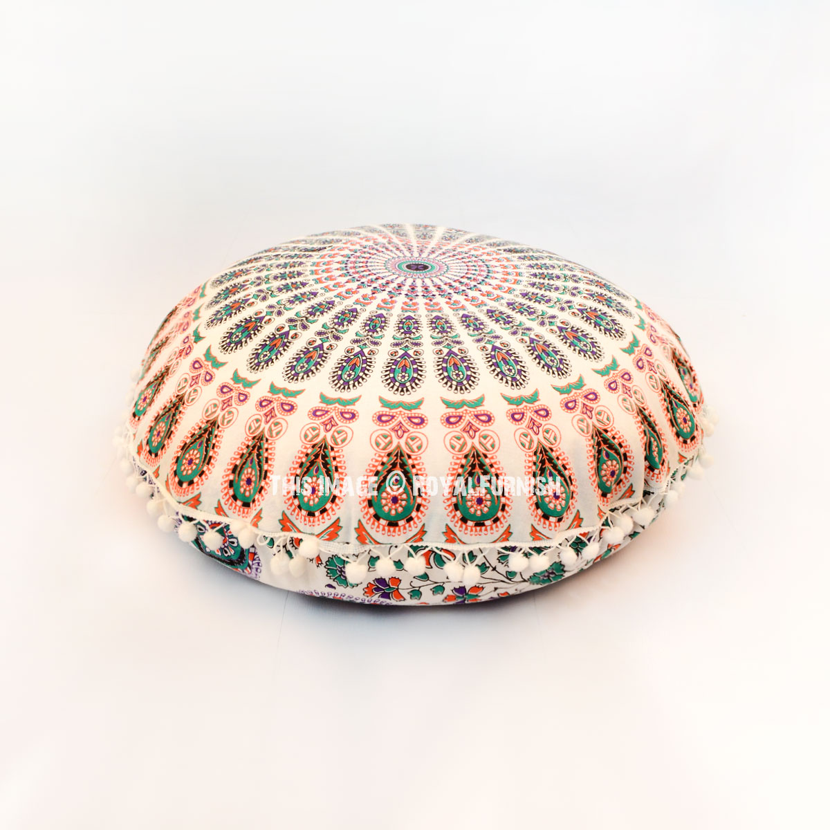 Hippie Floor Pillows : White Multi Hippie Mandala Round Floor Pillow Cover 24