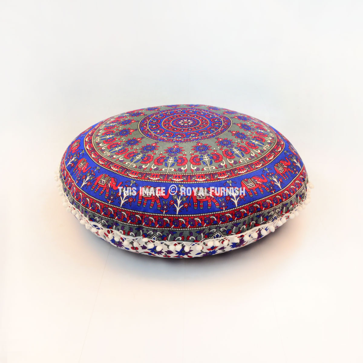 Round Floor Pillow Blue : Blue & Red Swamp Deer Boho Round Floor Pillow Cover 32 Inch - RoyalFurnish.com