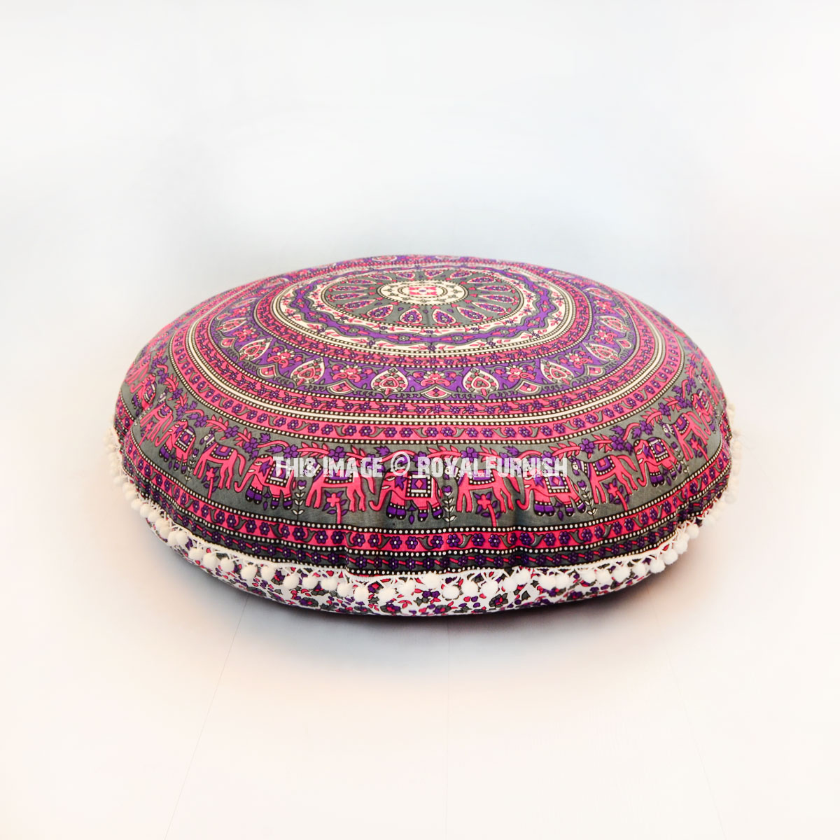 Pink & Grey Elephants Ring Medallion Round Floor Pillow Cover - RoyalFurnish.com