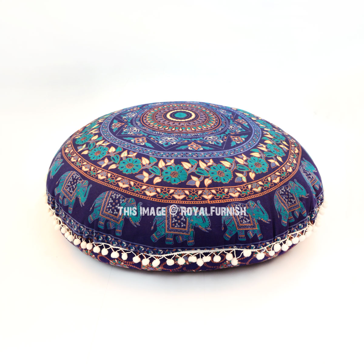 Round Floor Pillow Blue : Blue Chakra Medallion Round Floor Pillow Cover 32 Inch - RoyalFurnish.com