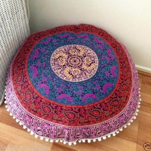 Plum Amp Bow Medallion Round Floor Pillow Cover 32 Inch