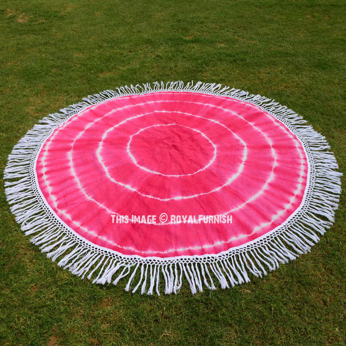 Pink Shibori Mandala Circle Beach Blanket Throw