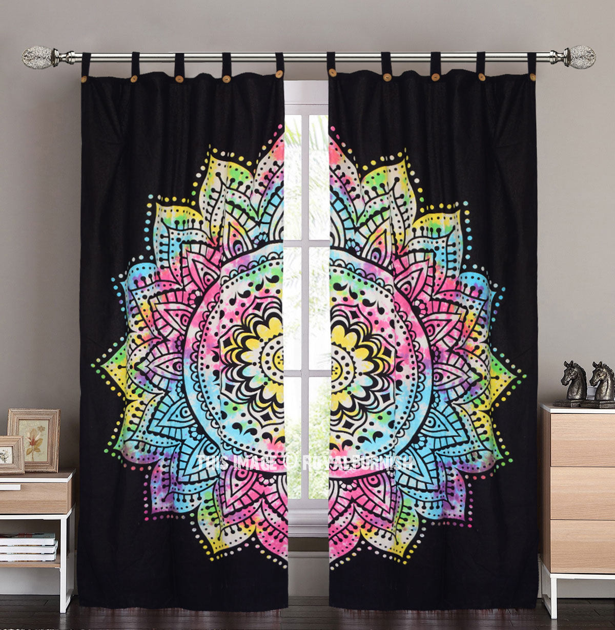 Black Multi Rangoli Rainbow Mandala Tie Dye Curtains Cotton Drape Curtain  Set