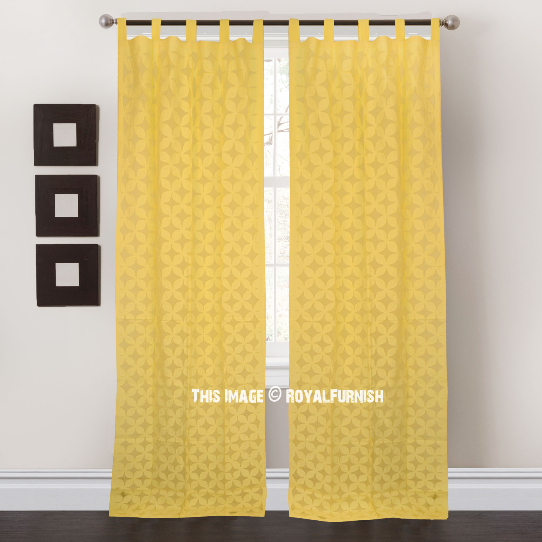 Yellow Cutwork Embroidered Cotton Sheer Curtain Set Of 2 Royalfurnish Com