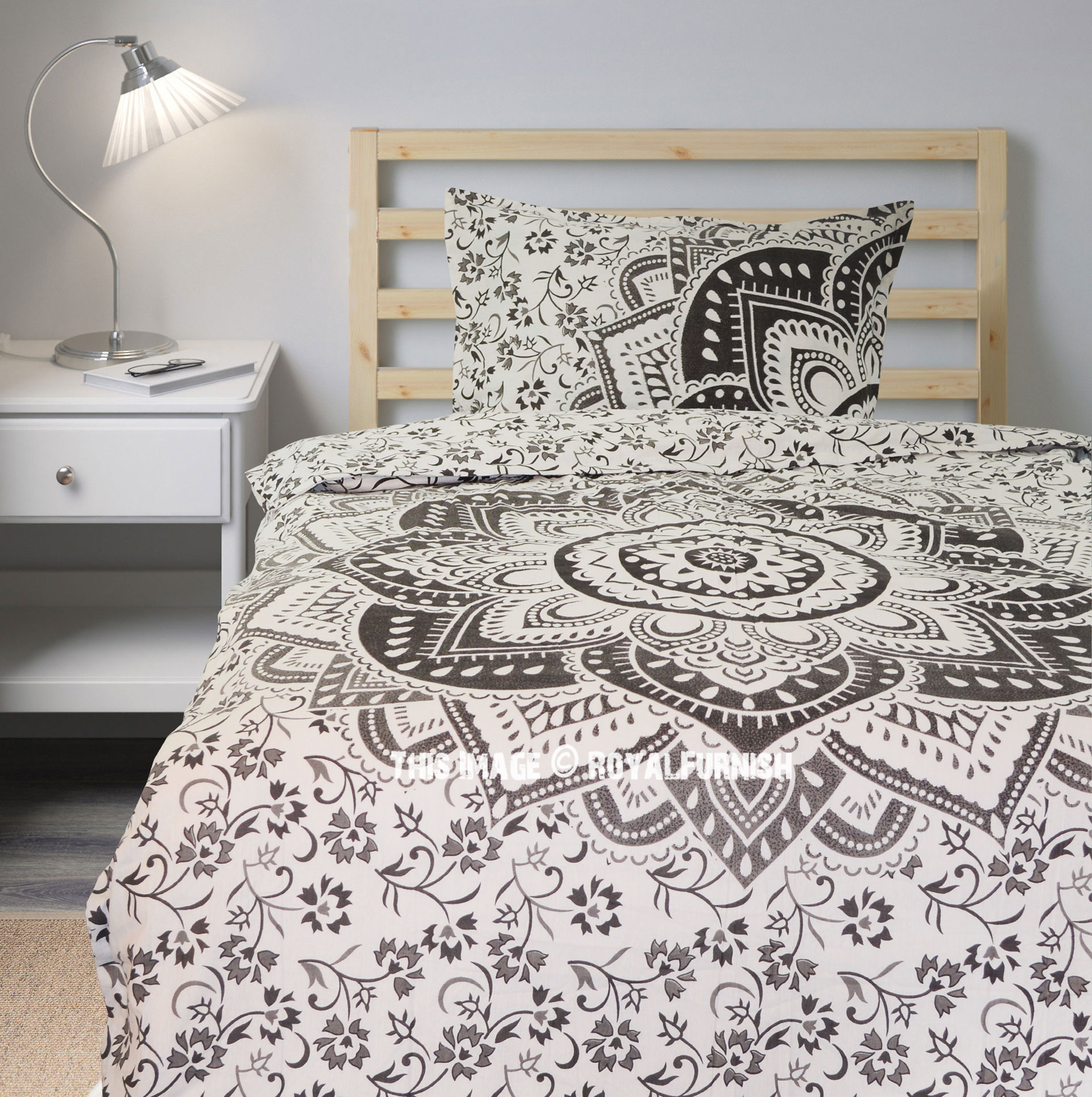 Gray Ombre Medallion Boho Chic Mandala Bedding Duvet Cover