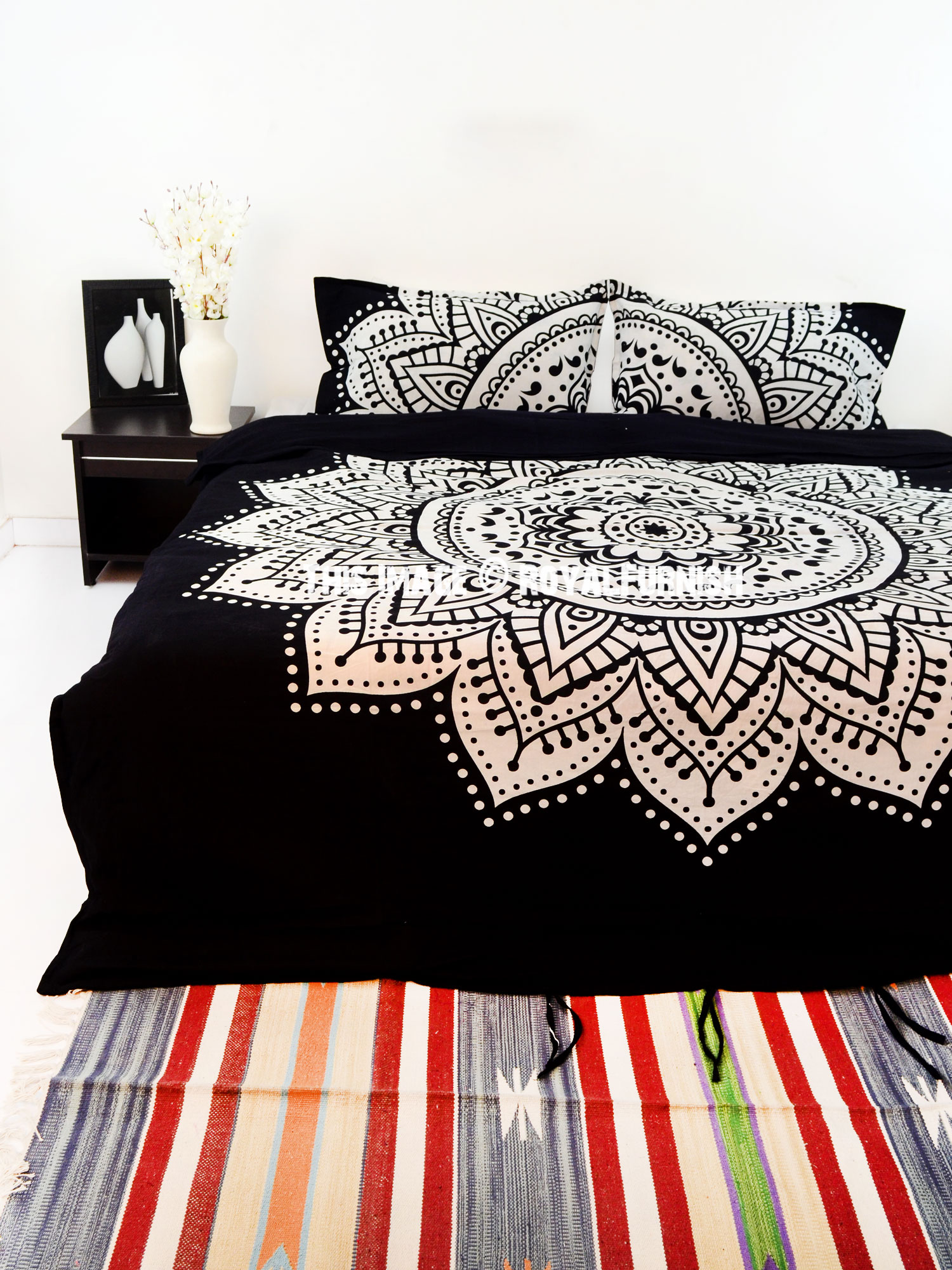 Black Amp White Rangoli Bohemian Gypsy Mandala Bedding Duvet