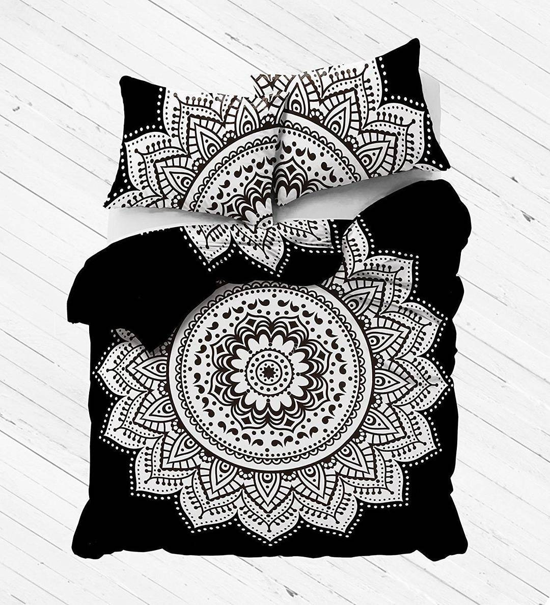 Black white rangoli bohemian gypsy mandala bedding duvet cover set with 2 pillow shams royalfurnish com