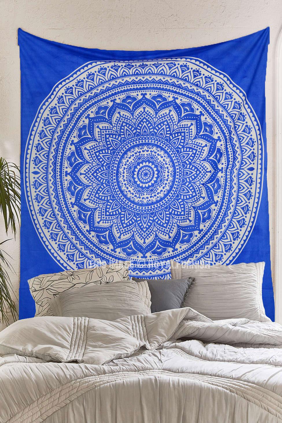 Blue multi elephants sun ombre mandala wall tapestry royalfurnish - Royal Blue Bohemian Dreams Mandala Throw Bedspread Wall Tapestry