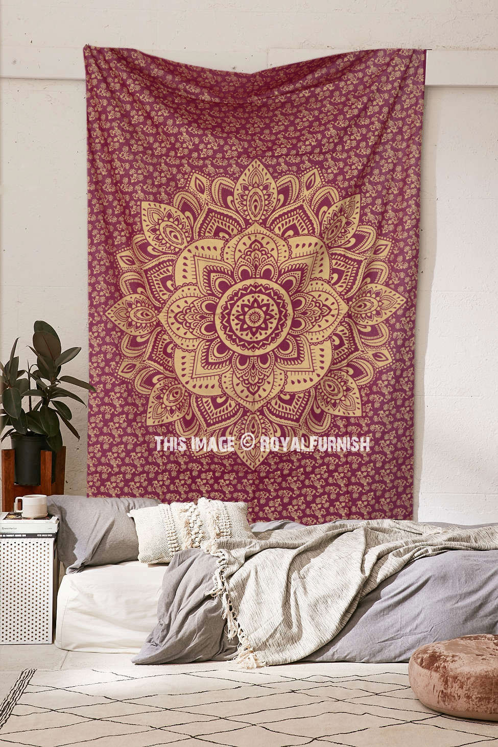 hippie tapestries  mandala bohemian tapestries  bedspreads  - maroon sparking gold small geometric medallion mandala tapestry