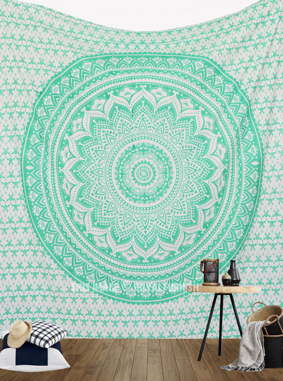 Sea Green Classic Hippie Mandala Tapestry Wall Hanging