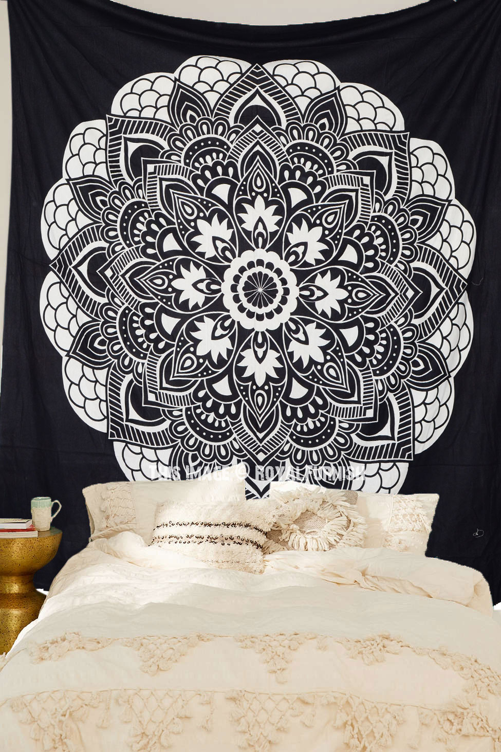 Black Amp White Oregano Mandala Bohemian Tapestry Room