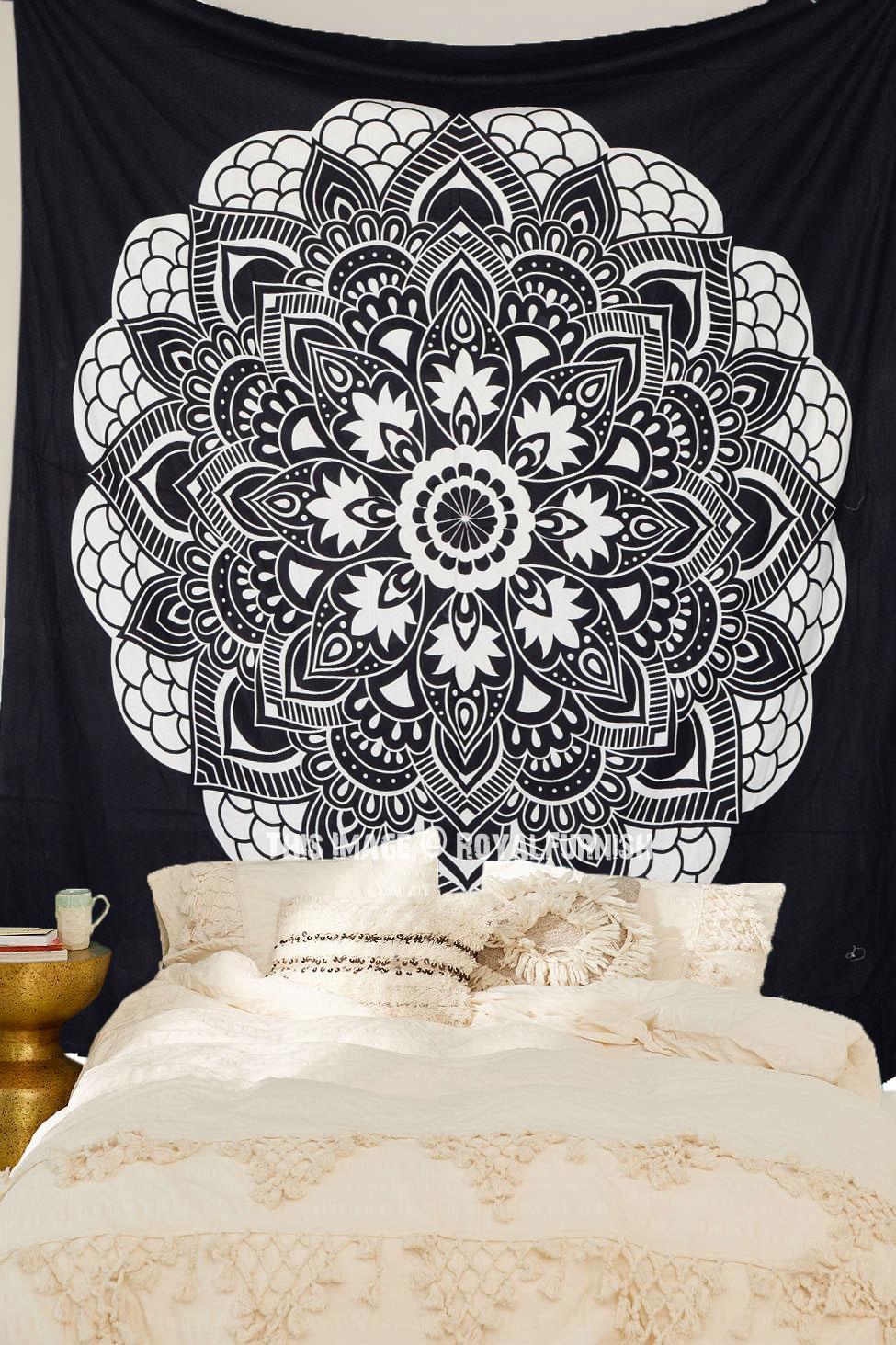 black  u0026 white oregano mandala bohemian tapestry  room decor