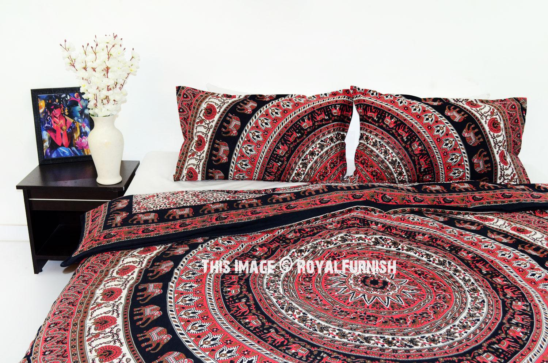 Red & Black Elephant Ring Mandala Boho Chic Duvet Cover