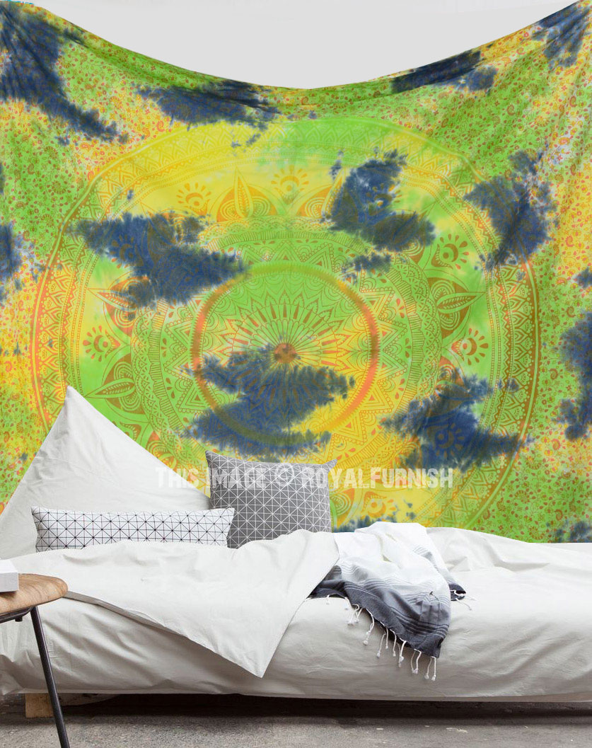 Green Multi Long Leafs Ombre Tie Dye Wall Tapestry - RoyalFurnish.com