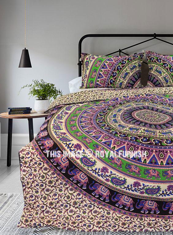 Multi Elephants Ring Teen Boho Bedding Mandala Duvet Cover