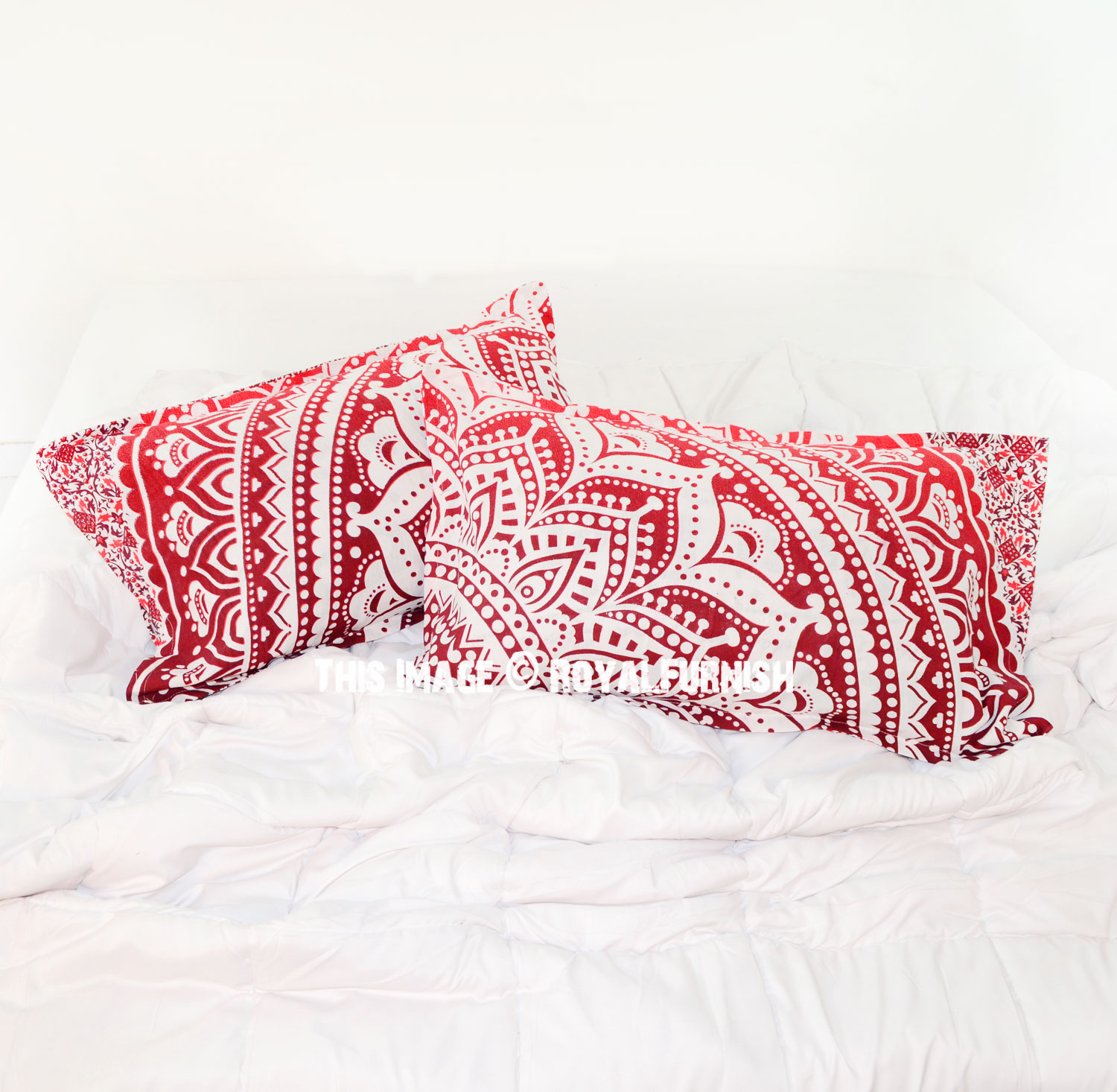 Red Throw Pillow For Bed : Decorative Red Bohemian Floral Ombre Mandala Bed Pillow Covers Set of Two - RoyalFurnish.com