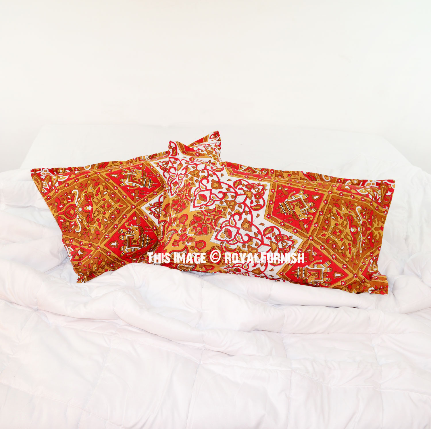 Red Throw Pillow For Bed : Red Yellow Multi 3D Boho Star Medallion Bed Pillow Covers Set of Two - RoyalFurnish.com