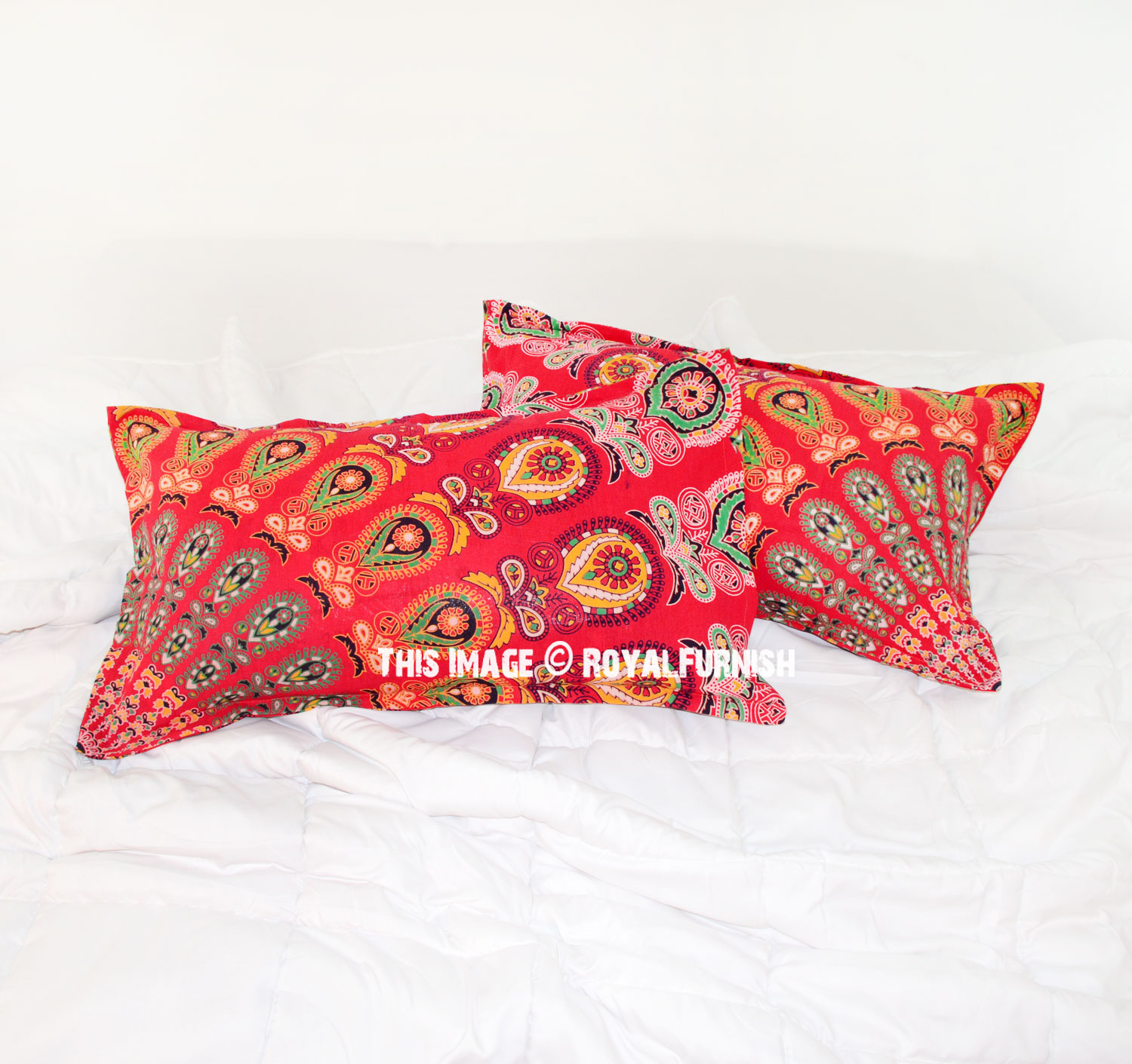 Red Throw Pillows For Bed : Red Boho Chic Peacock Mandala Bed Pillow Cases Set of Two - RoyalFurnish.com