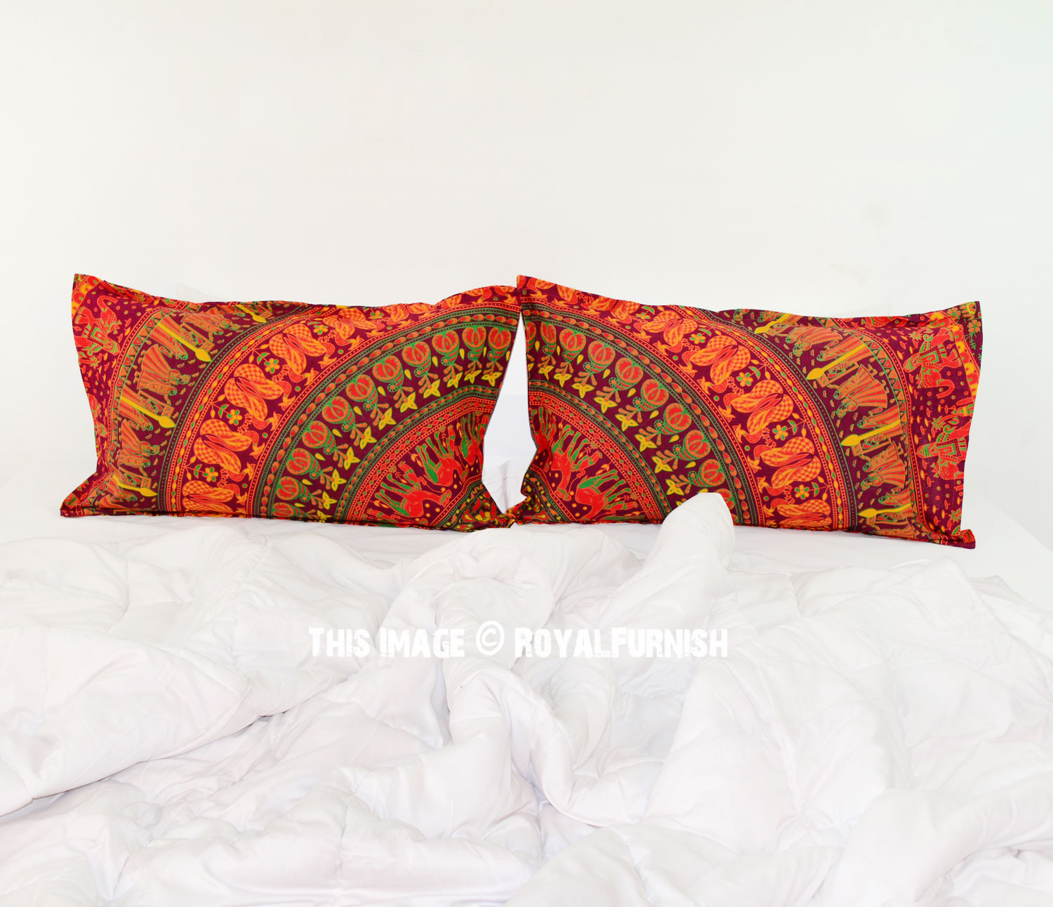 Decorative red bohemian mandala bed pillow cases set of for Decorative bed pillow case