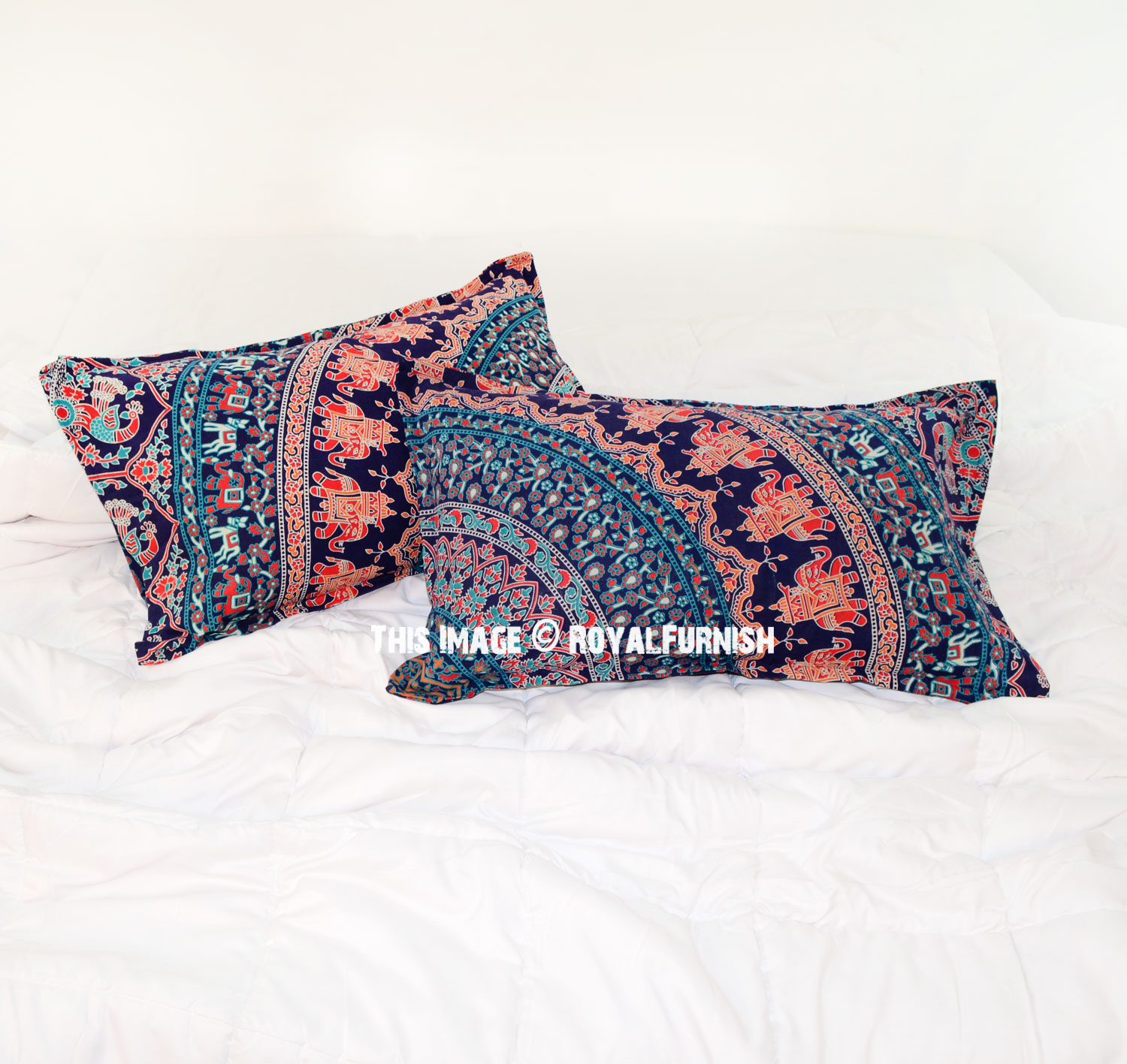 Decorative Blue Elephant & Birds Bohemian Mandala Bed Pillow Case Set of Two - RoyalFurnish.com