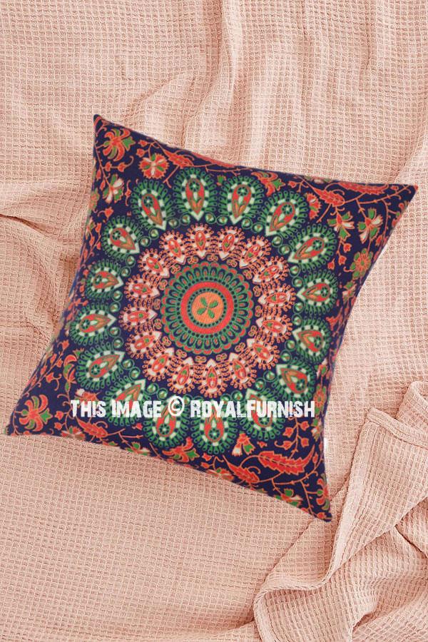 Blue Amp Orange Decorative Mandala Throw Pillow Cover