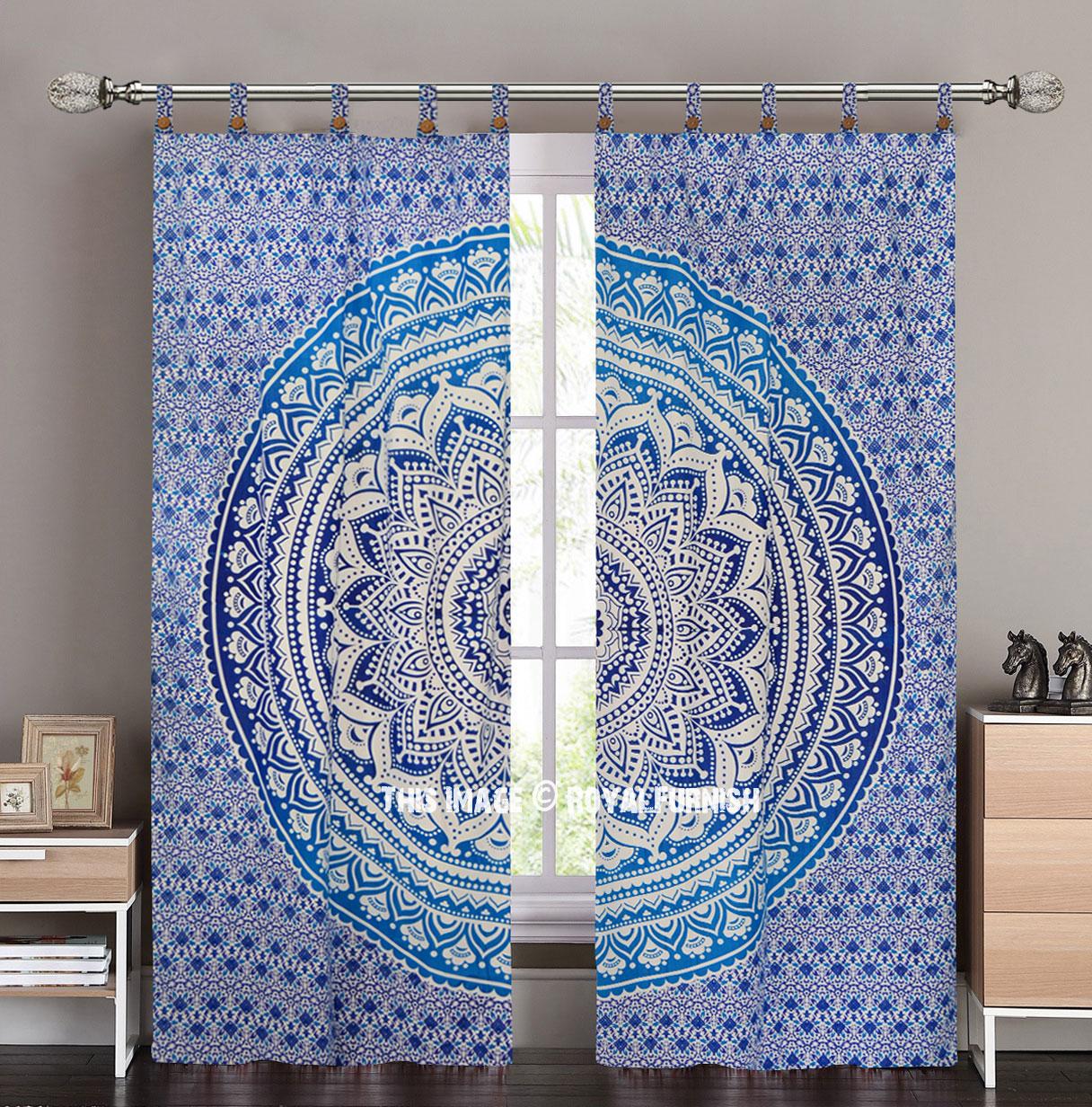Blue Classic Ombre Mandala Tapestry Curtain Panel Pair
