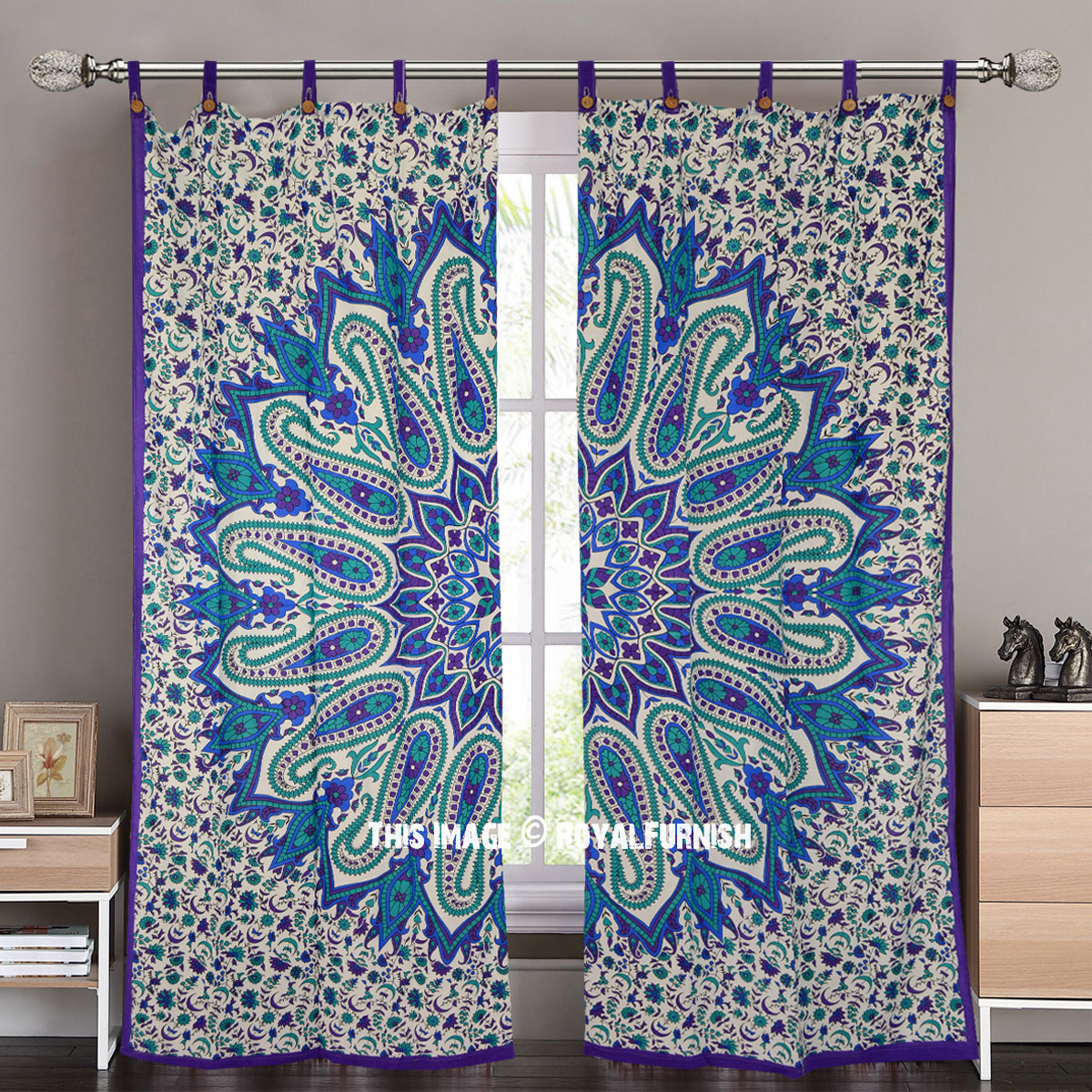 Purple Paisley Medallion Tapestry Curtain Panel Pair 38x84